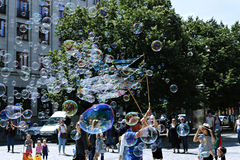 Holiday soap bubbles in the street in Prague Stock Image