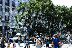 Holiday soap bubbles in the street in Prague Stock Photos