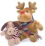 Holiday soft toys isolated on white Royalty Free Stock Photo