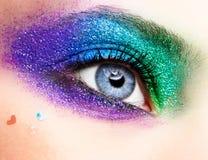 Holiday spangled eye makeup. Shining holiday spangled female eye makeup Stock Image
