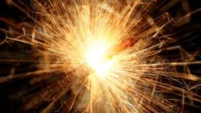 Holiday sparkler. Burning holiday sparkler on black background stock video footage