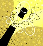 Holiday sparks of a champagne. Vector illustration Stock Photo