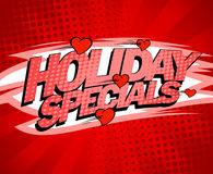 Holiday specials red design concept, sale poster with flying hearts. Pop-art style Royalty Free Stock Image