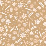 Holiday spices seamless vector repeat pattern background with star anise, cinnamon, nutmeg and clove. royalty free illustration