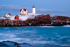 Holiday Spirit With Nubble Lighthouse in Maine Stock Photos