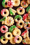 Holiday spritz cookies with icing Royalty Free Stock Image