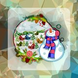 Holiday square christmas card with funny snowman and winter village landscape on a colorful mosaic background. Stock Photo