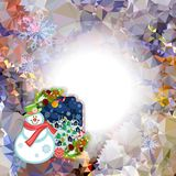 Holiday square christmas card with funny snowman and winter village landscape on a colorful mosaic background. Stock Image