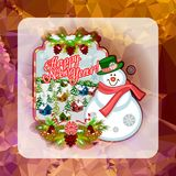Holiday square christmas card with funny snowman and winter village landscape on a colorful mosaic background. Stock Photography
