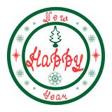 Stamp Happy New Year. Holiday stamp for Happy New Year in traditional christmas colors - green and red. Hand-drawn, creative design in vintage style Royalty Free Stock Photography