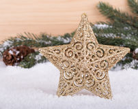 Holiday Star in Snow Stock Photo