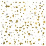Holiday starry background. Gold stars. Confetti celebration, Fal. Ling golden abstract decoration for party, birthday celebrate, anniversary or event, festive Royalty Free Illustration