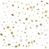 Holiday starry background. Gold stars. Confetti celebration, Fal. Ling golden abstract decoration for party, birthday celebrate, anniversary or event, festive Stock Illustration