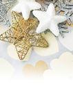 Holiday stars on background with hearts Stock Photos