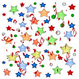 Holiday stars and streamers Royalty Free Stock Photos
