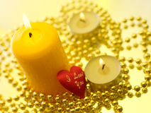 Holiday still life with candles Stock Photo