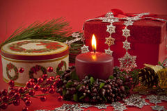 Holiday Still life with lighted candle Stock Photos