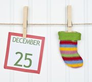 Holiday Stocking or Sock on a Clothesline Stock Images