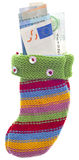 Holiday Stocking Sock Filled with Euro Currency Royalty Free Stock Images