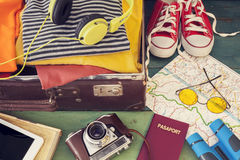 Holiday suitcase. The holiday suitcase with clothing Royalty Free Stock Photography