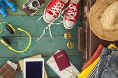 Holiday suitcase. The holiday suitcase with clothing Royalty Free Stock Images