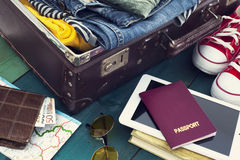 Holiday suitcase. The holiday suitcase with clothing Stock Photos