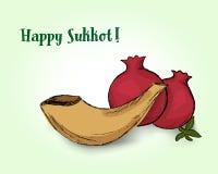 Holiday Sukkot, shofar and pomegranates Stock Images