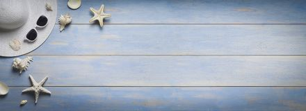 Holiday, summer banner, accessories on old wooden plank Royalty Free Stock Images