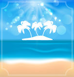 Holiday summer card with beautiful beach and palms Royalty Free Stock Photo