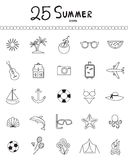 Holiday and summer outline icons - vector Stock Image