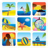 Holiday, Summer and Sea Icons Royalty Free Stock Photography