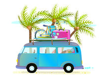 Holiday summer trip bus for beach tropical vacation with luggage Stock Photography