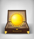 Holiday sun in open travel suitcase transport concept vector Stock Photography