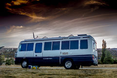 Holiday In the Sunset. A motorhome against a sunset sky taken in the South Island of New Zealand Stock Images