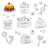 Holiday Sweets. Vector Sketch Collection of Holiday Sweets Royalty Free Stock Image