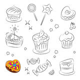 Holiday Sweets and Cakes. Vector Sketch Collection of Holiday Sweets and Cakes Stock Image