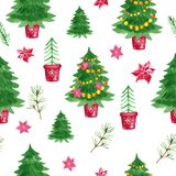 Holiday symbol Watercolor Christmas trees seamless pattern on white background. Holiday symbol Watercolor Ð¡hristmas trees seamless pattern with garland, tree stock illustration