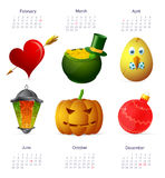 Holiday symbols with calendar Royalty Free Stock Images