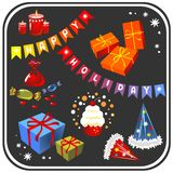 Holiday symbols set. Isolated on a black background Royalty Free Stock Photos