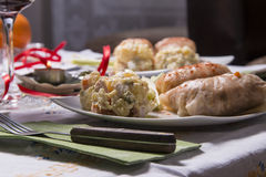 Holiday Table With Appetizers. Food and Wine Stock Photo