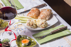 Holiday Table With Appetizers Stock Photo