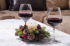Holiday Table With Appetizers. Food and Wine Stock Image