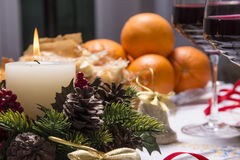 Holiday Table With Appetizers Stock Images