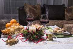 Holiday Table With Appetizers. Food and Wine Royalty Free Stock Photography