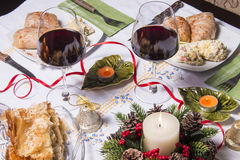 Holiday Table With Appetizers. Food and Wine Royalty Free Stock Photos