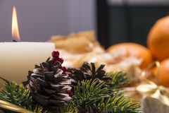 Holiday Table With Appetizers Stock Photos
