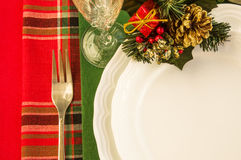 Holiday table with Christmas decorations. Royalty Free Stock Photos