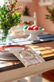 Holiday table decorated for Christmas vertical royalty free stock photography