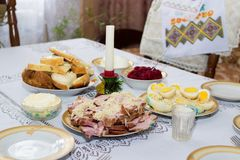 Holiday table Easter holiday Stock Photo