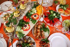 Holiday table with food Royalty Free Stock Images